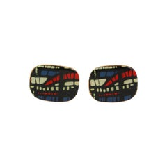 Large Enamel Abstract Patterned Silver with a Gold Vermeil Cufflinks