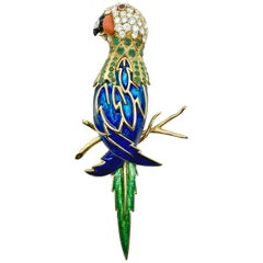 Large Enamel and Diamond Parrot Bird Statement Brooch