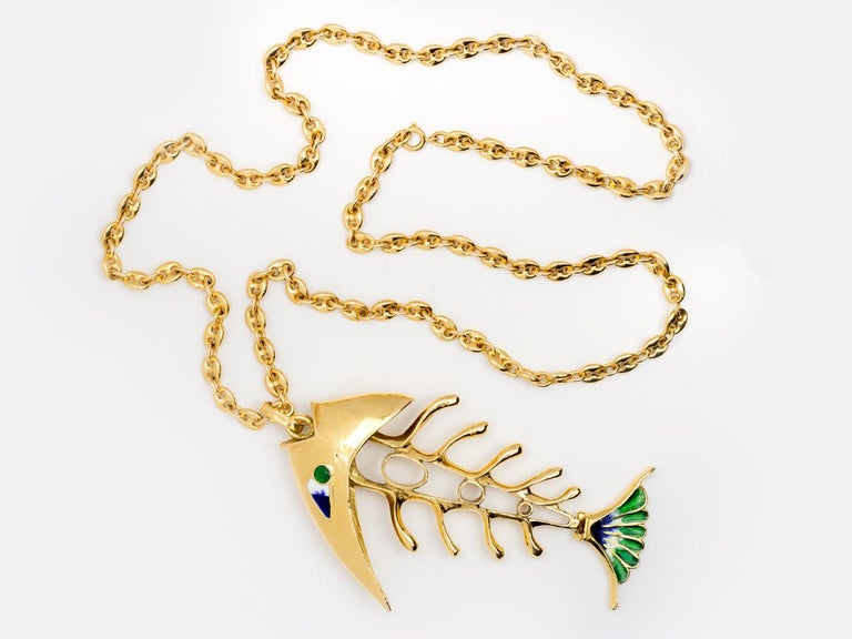18k gold  articulated  and enameled fish pendant necklace.