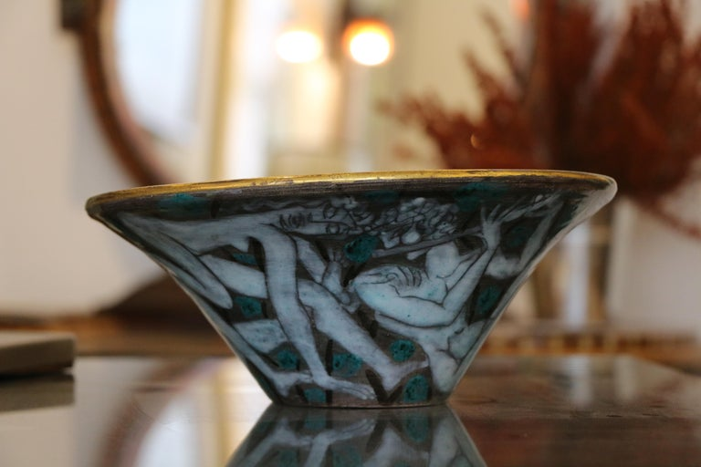 Large Enameled Cup in Earthenware by Edouard Cazaux, France, Art Deco, 1920-1930 For Sale 7