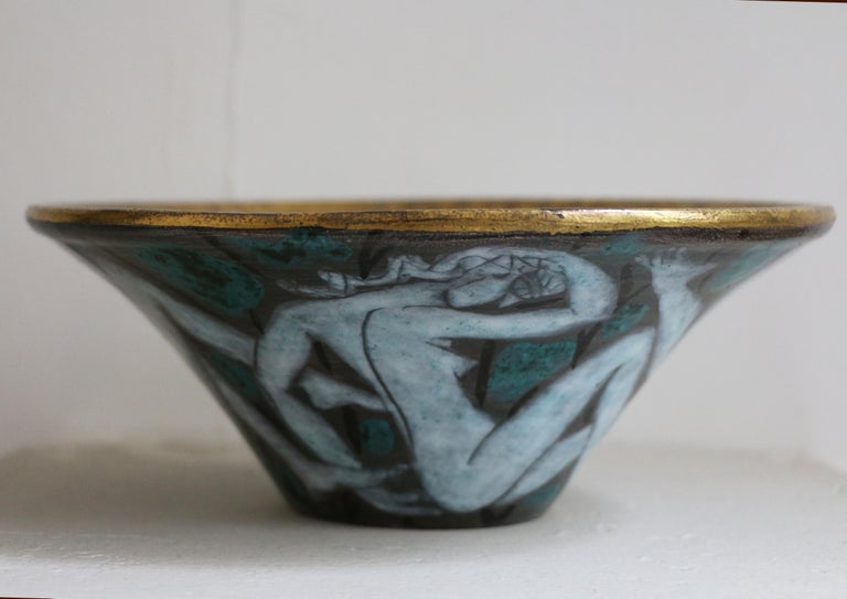 French Large Enameled Cup in Earthenware by Edouard Cazaux, France, Art Deco, 1920-1930 For Sale