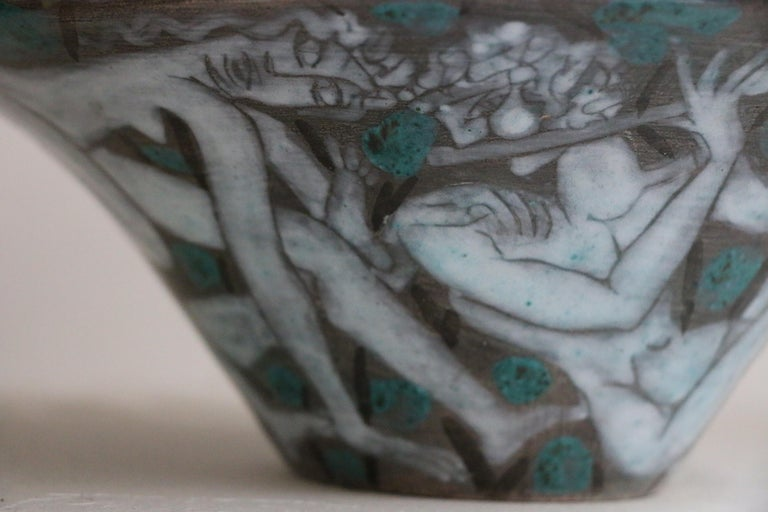 Early 20th Century Large Enameled Cup in Earthenware by Edouard Cazaux, France, Art Deco, 1920-1930 For Sale