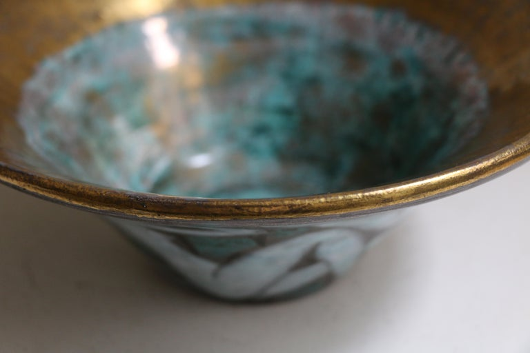 Large Enameled Cup in Earthenware by Edouard Cazaux, France, Art Deco, 1920-1930 For Sale 2