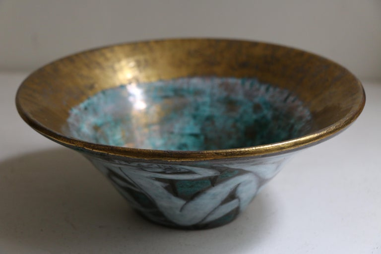 Large Enameled Cup in Earthenware by Edouard Cazaux, France, Art Deco, 1920-1930 For Sale 3