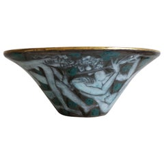 Large Enameled Cup in Earthenware by Edouard Cazaux, France, Art Deco, 1920-1930