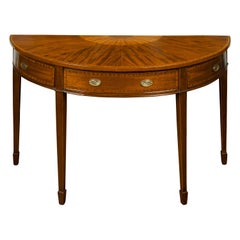 Large English 1840s Mahogany Demilune Table with Fan-Shaped Marquetry Décor
