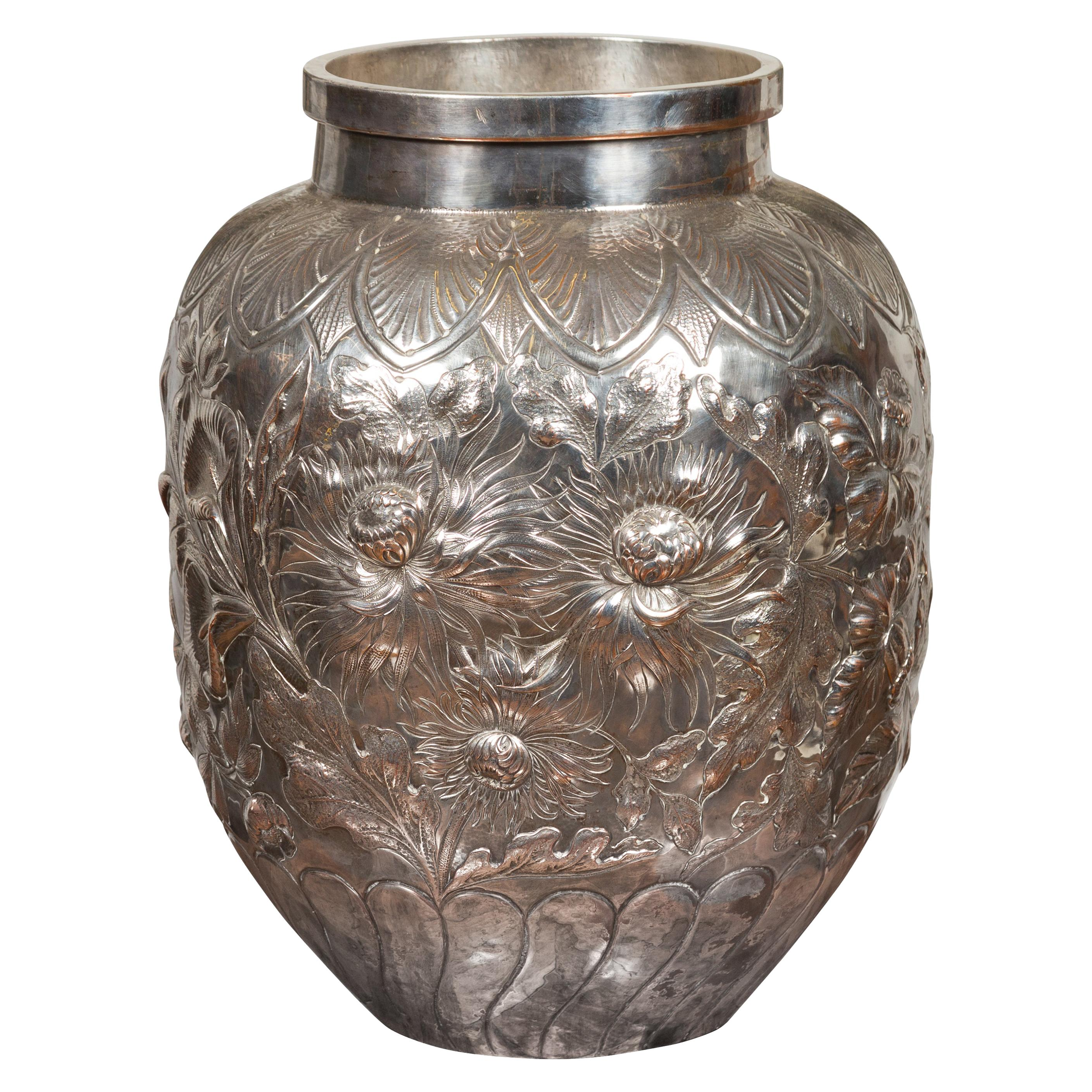 Large English 1900s Silver on Copper Vase with Floral Repoussé Motifs
