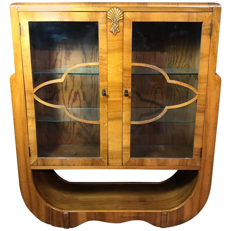 Large English 1930 Art Deco Walnut Display Cabinet in Mint Condition For Sale