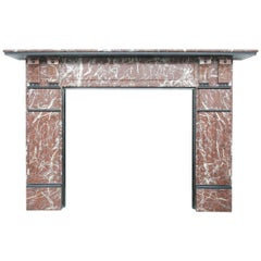 Large English Antique Late Victorian Rouge Marble Fireplace Surround