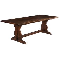 Large English Antique Oak Refectory Dining Table, Seats 8