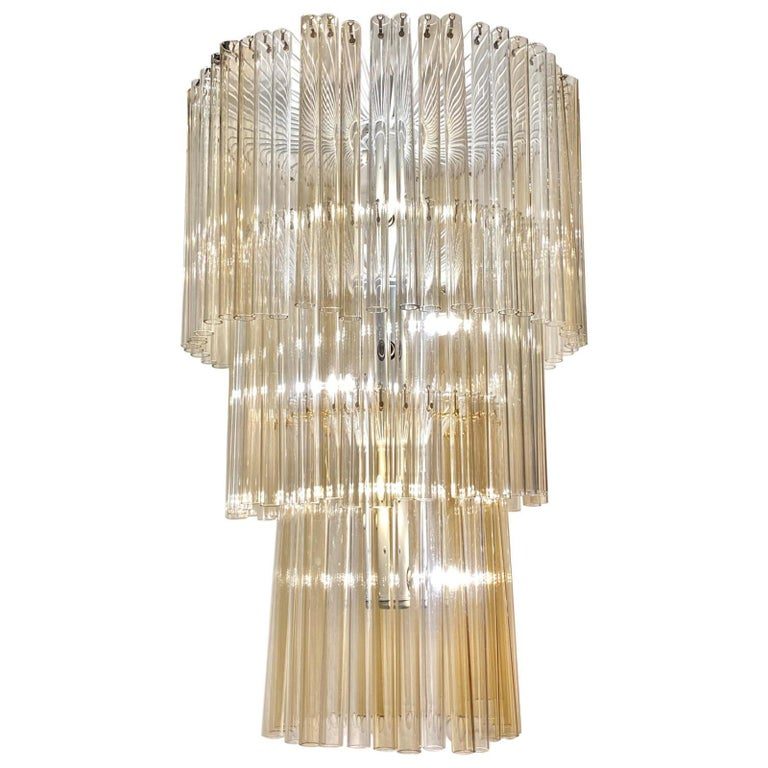 Large English Art Deco Glass Chandelier For Sale