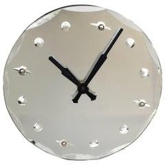 Large English Art Deco Mirrored Wall Clock, circa 1935