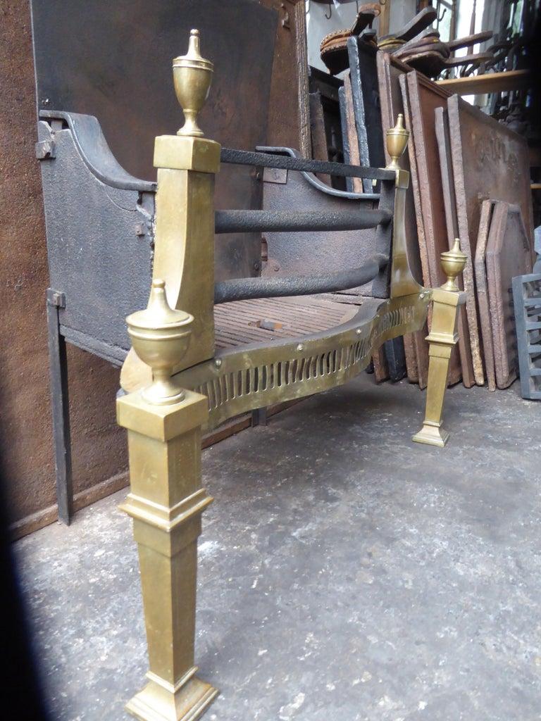 Large English Art Nouveau Fireplace Grate, Fire Grate For Sale 1