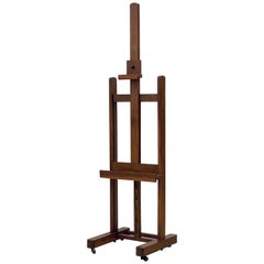 Large English Artist's Display or Floor Easel of Oak with Adjustable Tray