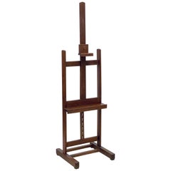 Large English Artist's Display or Floor Easel with Adjustable Tray