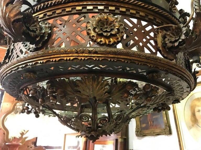 Metalwork Large English Borique Revival 19th Century Chandelier For Sale