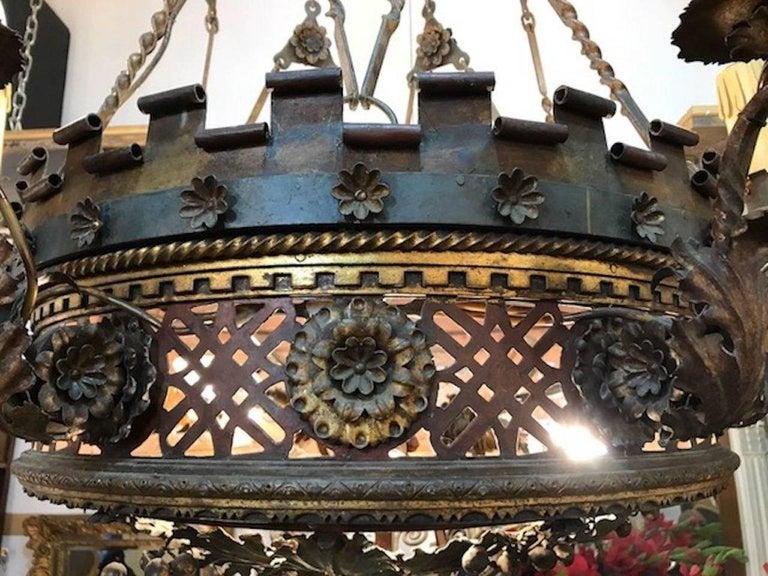 Cut Steel Large English Borique Revival 19th Century Chandelier For Sale