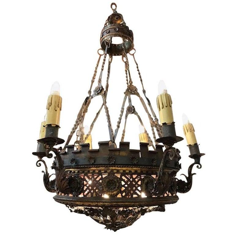 Large English Borique Revival 19th Century Chandelier For Sale