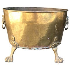 """Large English Brass Cachepot, Marked """"Made in England"""", circa 1900"""