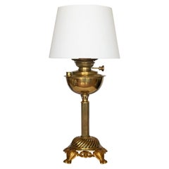 Large English Brass Oil Lamp Converted to Electrical Table Lamp