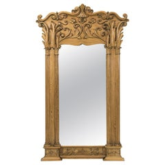 Large English Carved Stripped Pine Mirror