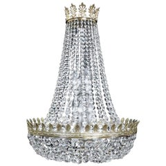 Large English Crystal Glass Empire Style Basket Chandelier