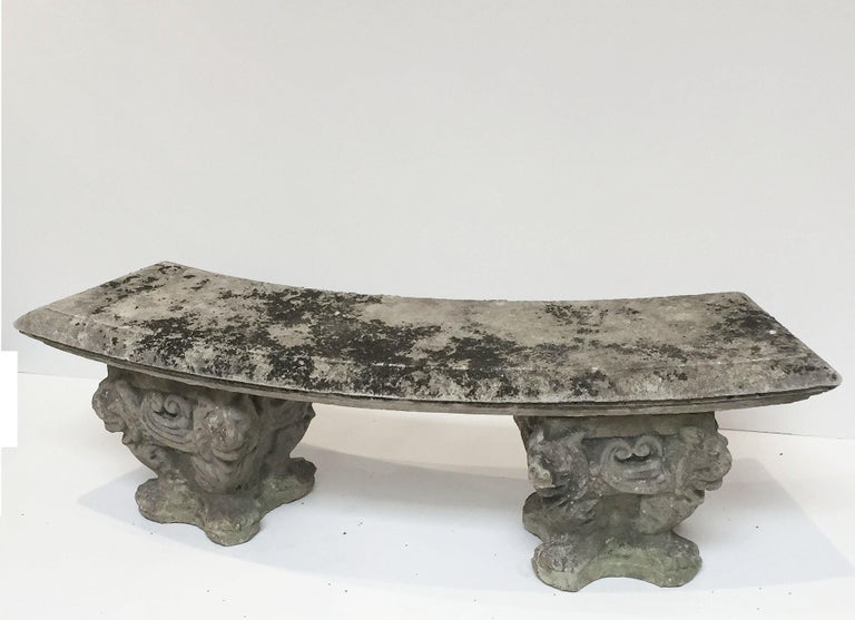 Cool Large English Curved Garden Stone Bench Or Seat With Lion Gmtry Best Dining Table And Chair Ideas Images Gmtryco