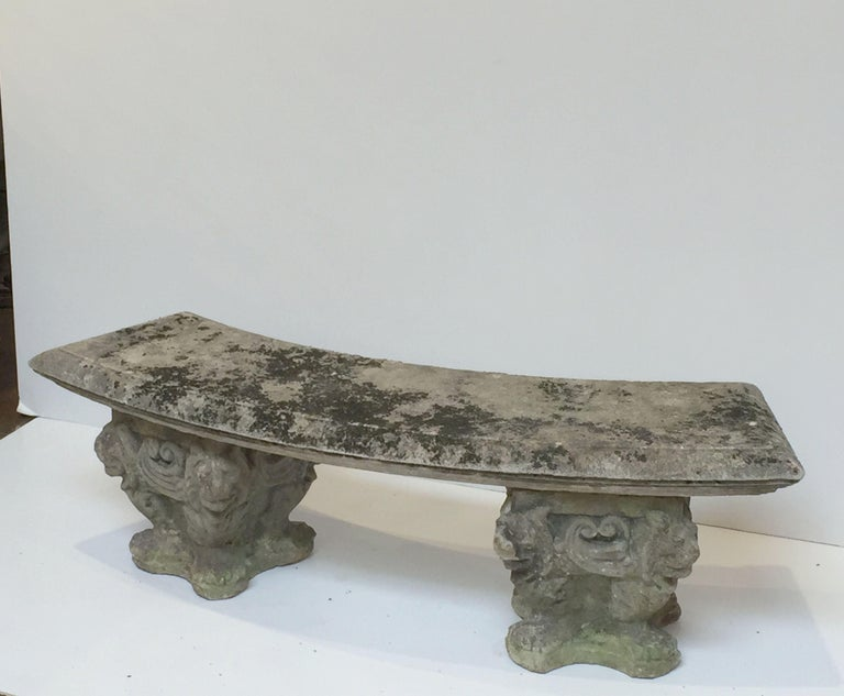 Large English Curved Garden Stone Bench Or Seat With Lion