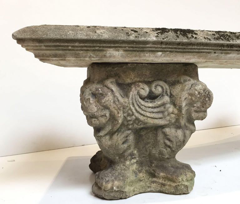 Sensational Large English Curved Garden Stone Bench Or Seat With Lion Gmtry Best Dining Table And Chair Ideas Images Gmtryco