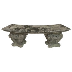 Large English Curved Garden Stone Bench with Lion and Scroll Base
