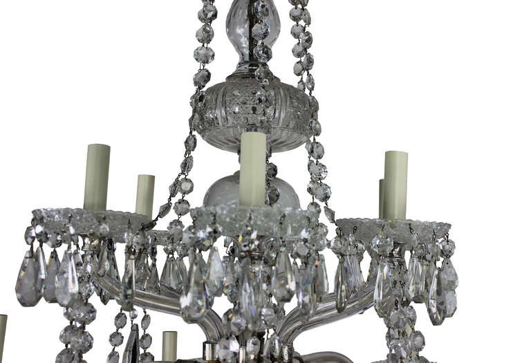19th Century Large English Cut-Glass Chandelier