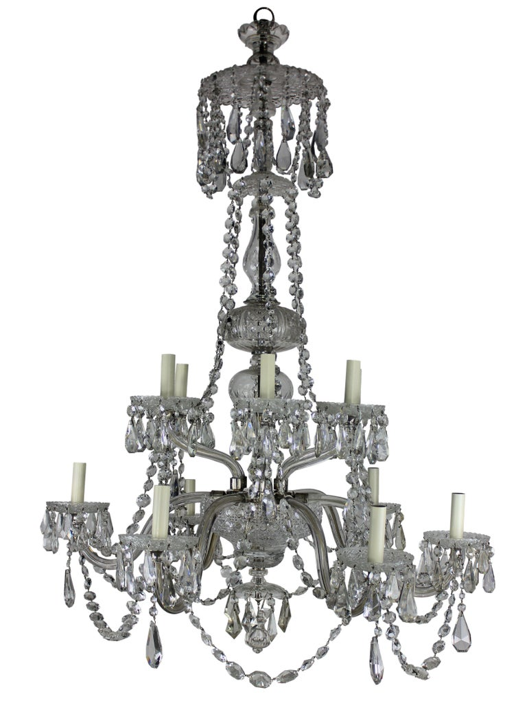 Cut Glass Large English Cut-Glass Chandelier
