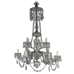 Large English Cut-Glass Chandelier