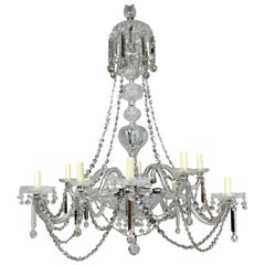 Large English Cut-Glass Chandelier of Good Quality
