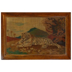 Large English Early 19th Century Primitive Tiger Picture