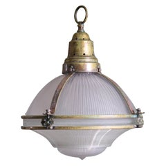 Large English Holophane Prismatic Glass and Brass Caged Pendant Light
