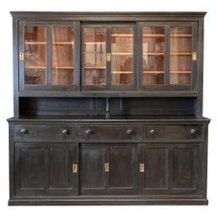 Large English Ebonzed Glazed Butlers Pantry Cabinet