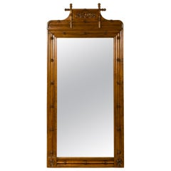 Large English Faux-Bamboo Walnut Mirror Made of 1900s Doors with Carved Ivy