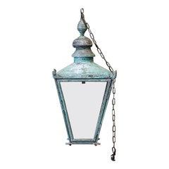 Large English Foster & Pullen Verdigris Copper Lantern