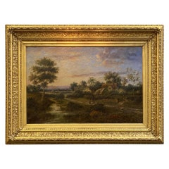 Large English Framed Oil Painting, Circa 1908, Country Landscape by A. Watts