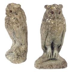 Large English Garden Stone Owl Statues with Glass Eyes 'Individually Priced'