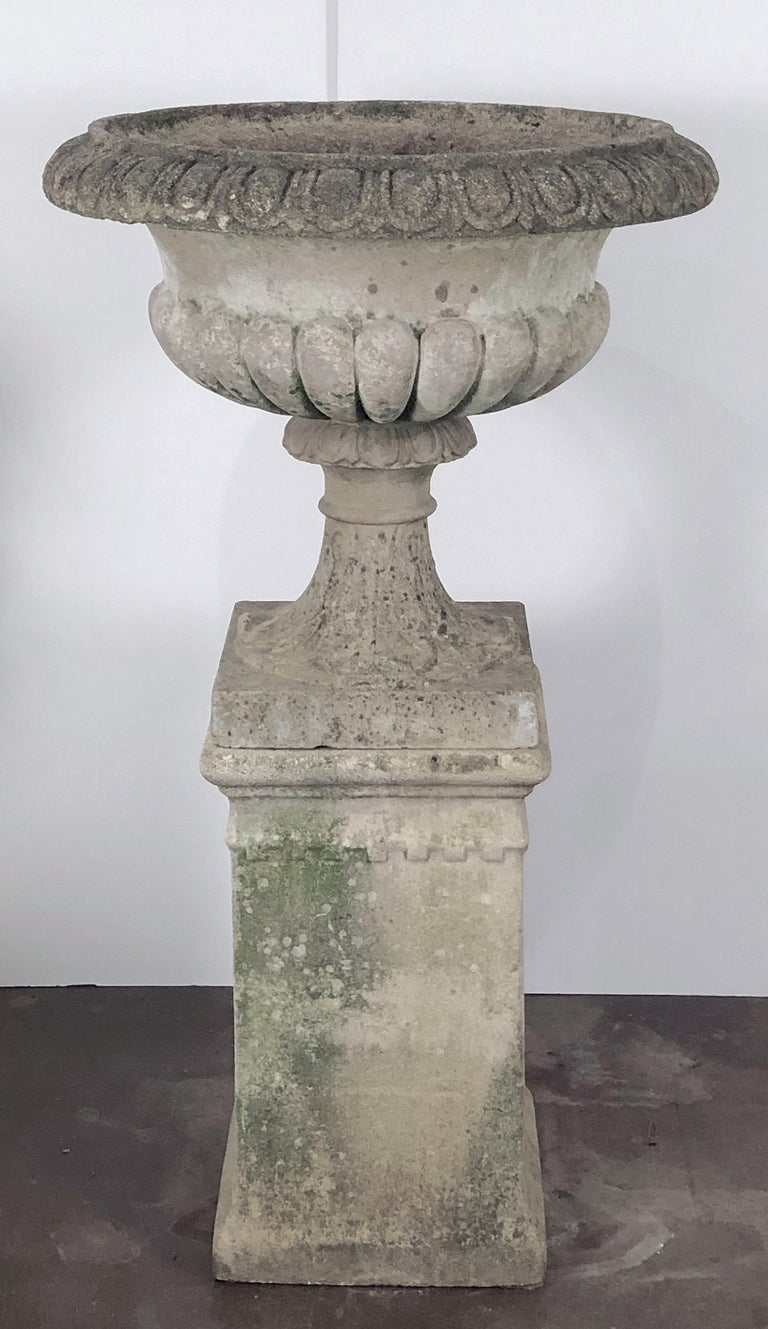 Large English Garden Stone Planter Or Urn On Plinth Or