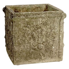 Large English Garden Stone Square Planter or Pot with Floral Relief