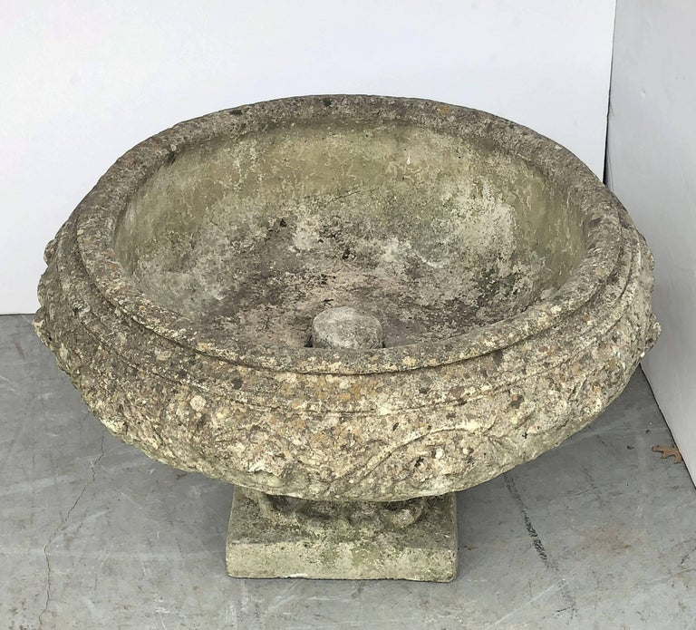 Large English Garden Stone Urn or Planter For Sale 1