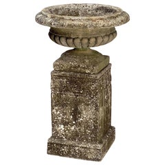 Large English Garden Stone Urn or Planter on Plinth Base in the Classical Style