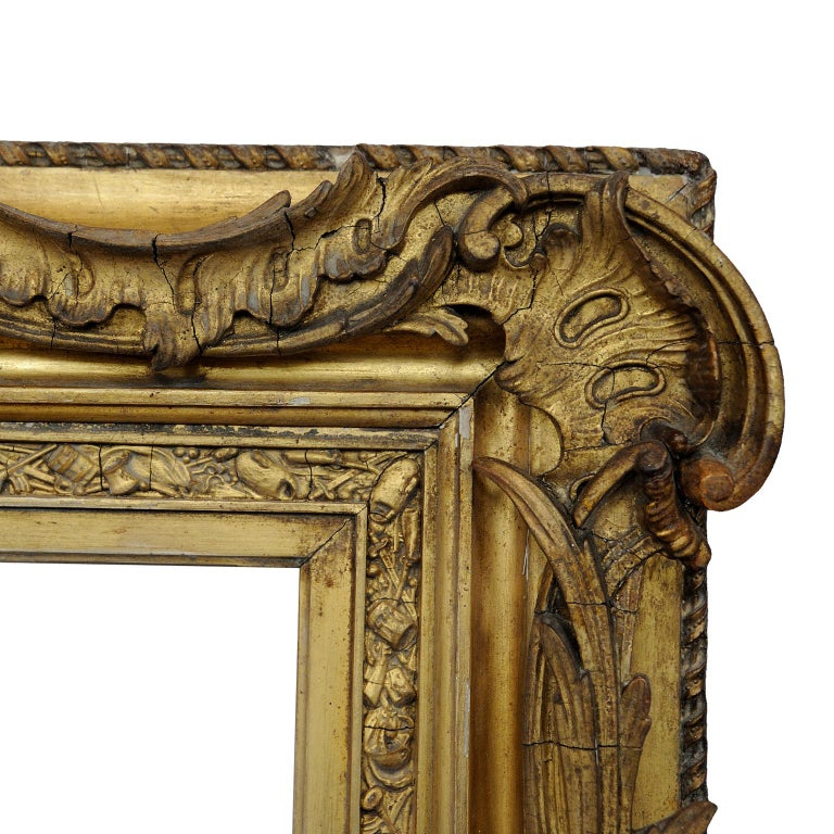 Large English George IV Carved Wood and Gilded Waterloo Frame, circa 1825 For Sale 1