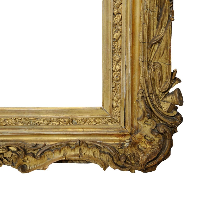 Large English George IV Carved Wood and Gilded Waterloo Frame, circa 1825 For Sale 2