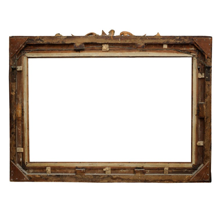 Large English George IV Carved Wood and Gilded Waterloo Frame, circa 1825 For Sale 4