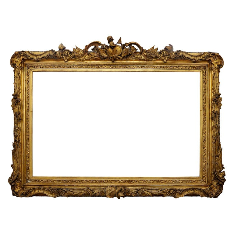 Large English George IV Carved Wood and Gilded Waterloo Frame, circa 1825 For Sale