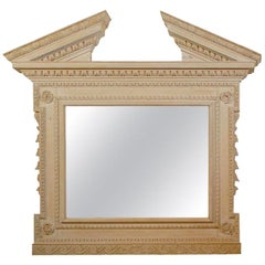 Large English Georgian Style Early 20th Century Mirror with Broken Pediment